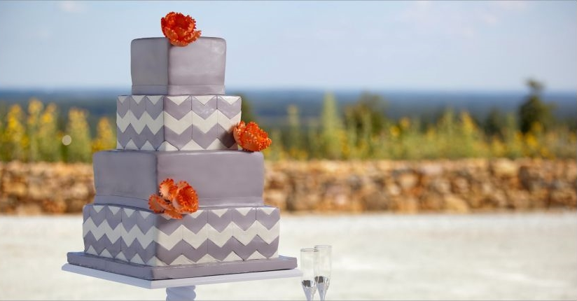 Edible Art Silver Chevron Wedding Cake