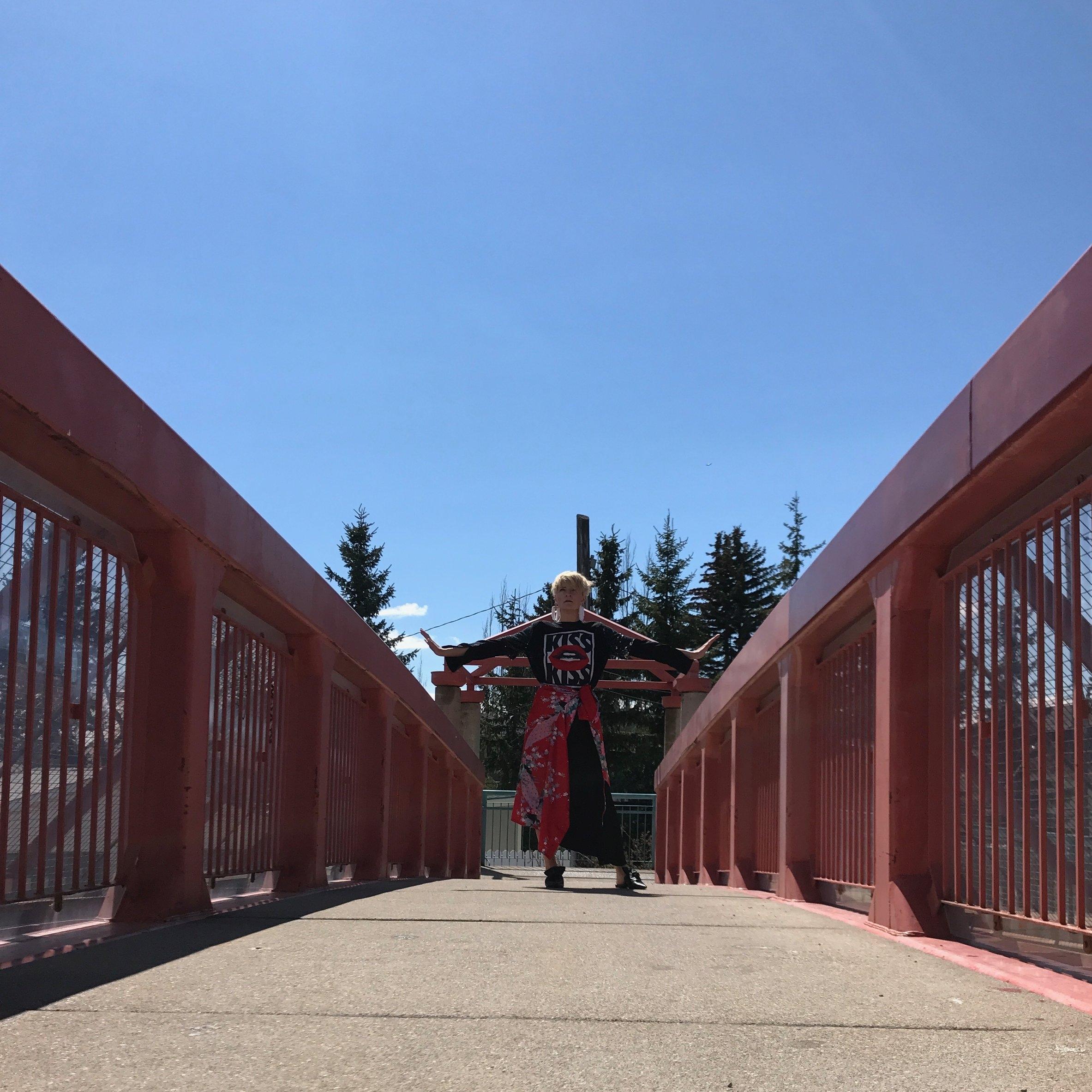 Credit: Photo - Anonymous, Styling - Sarah G. Schmidt, Location - Nose Hill Mall Pedestrain Bridge