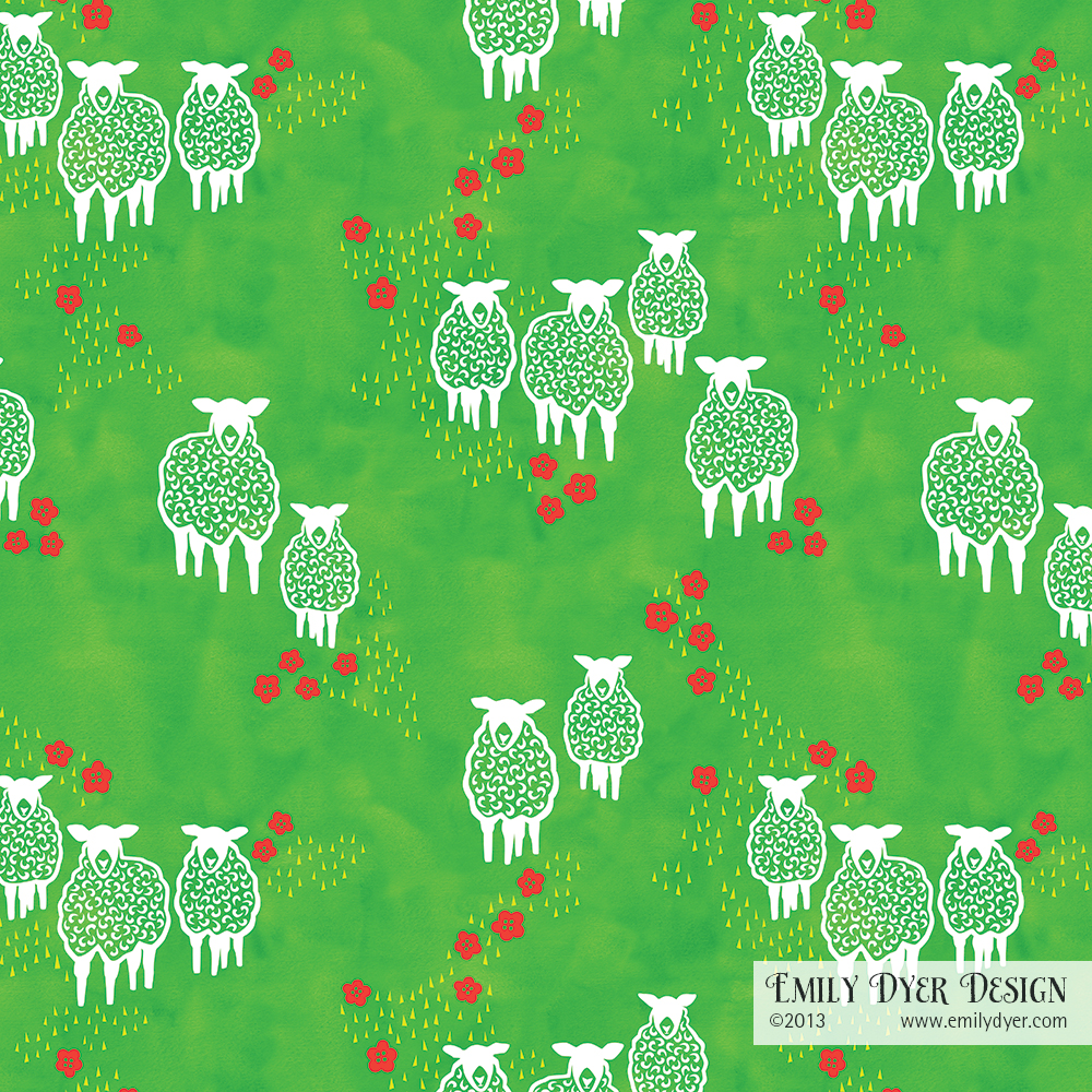 Wooly Friends Pattern. Watercolor and digital. ©2014 Emily Dyer
