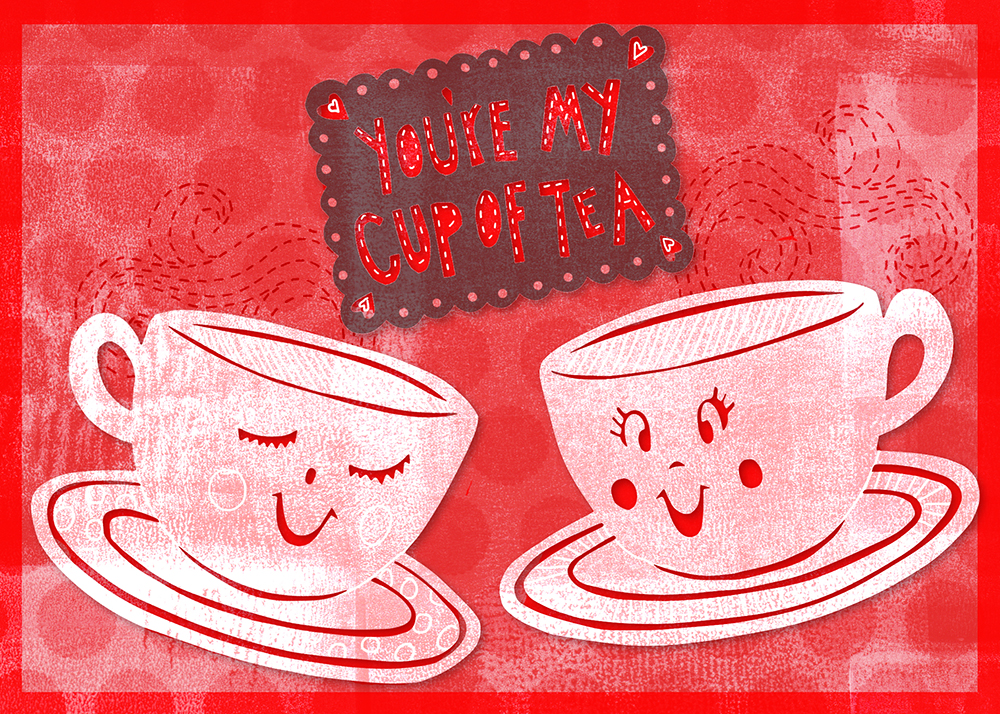 You're My Cup of Tea. Papercuts, scanned textures, digitally composited and colored. ©2014 Emily Dyer.