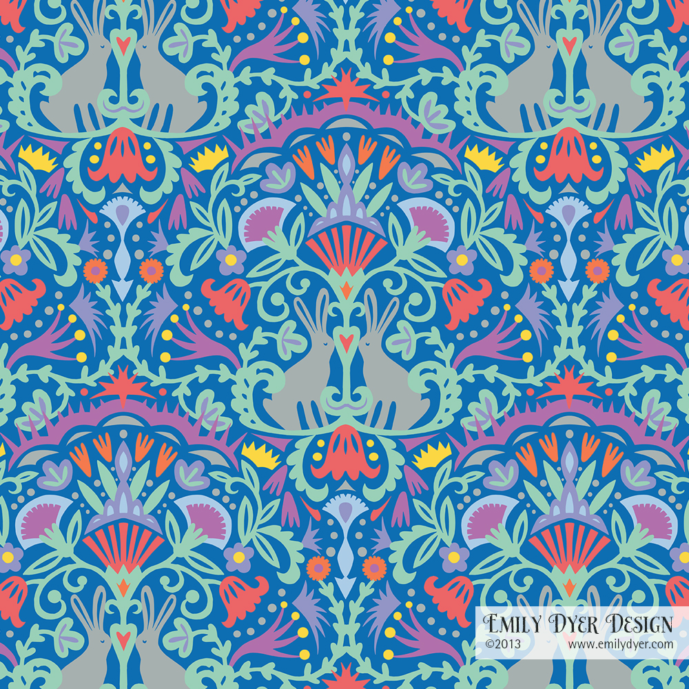 Bunny Love. Multicolor on blue. Papercut and digital. © 2014 Emily Dyer.