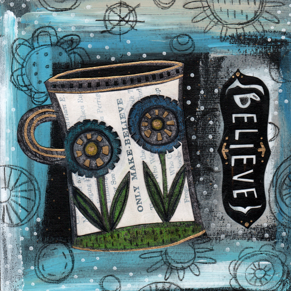 Believe. Mixed media collage, cut paper, acrylic paint, oil pencil, markers, stabilo pencil. ©2014 Emily Dyer.