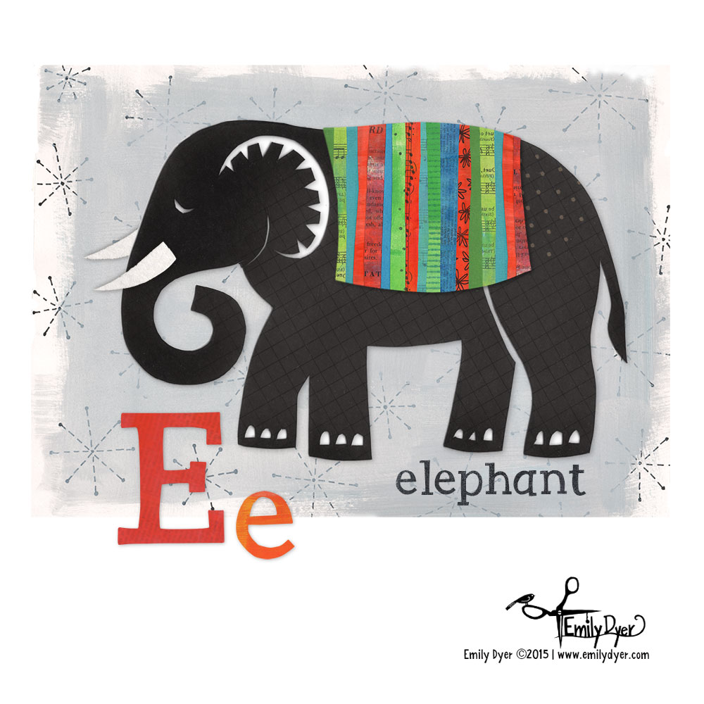 E is for Elephant; 2015; paint, cut paper, collage and digital.
