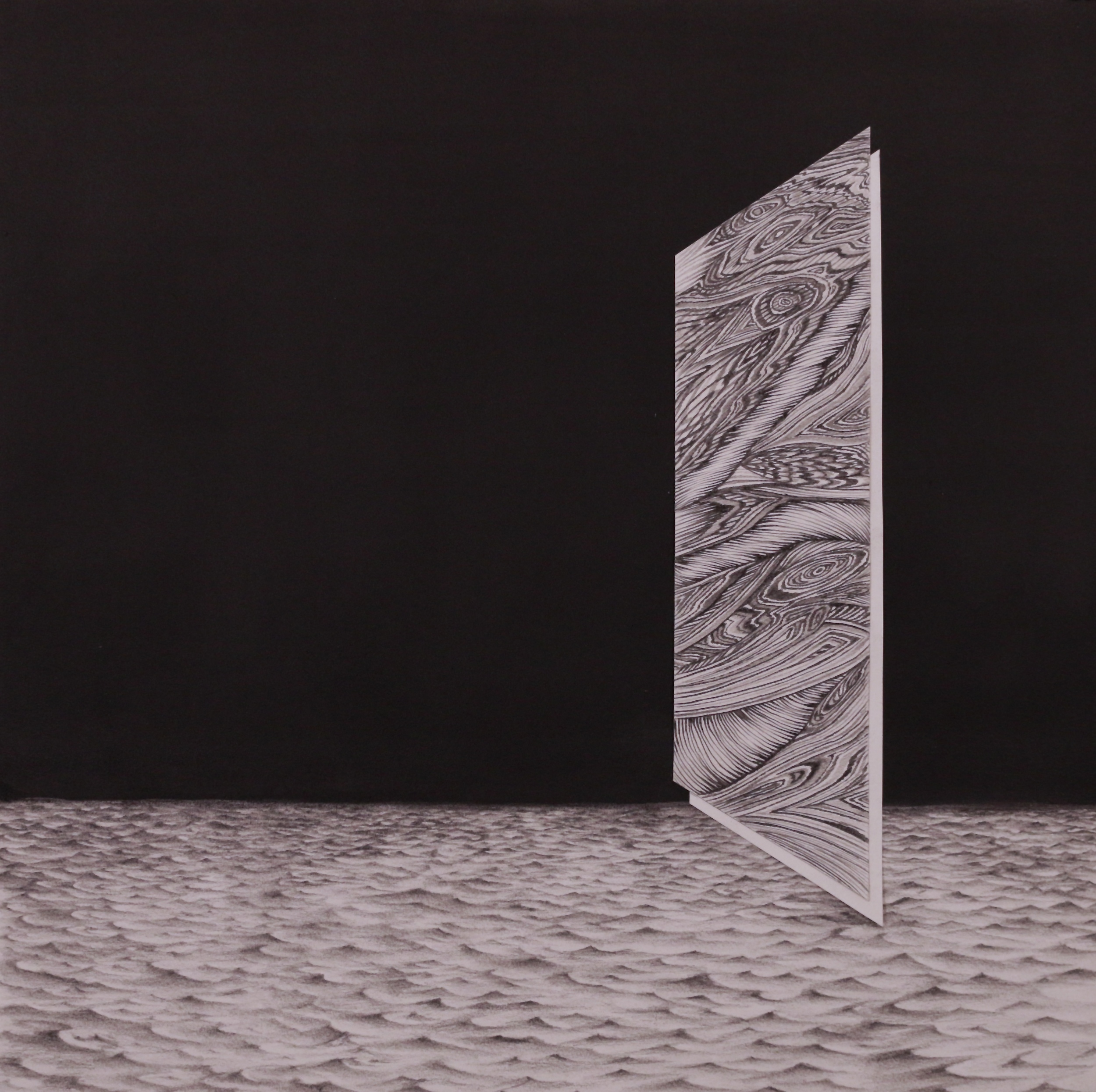 Untitled (Landscape with Monolith), 19''x19'', Graphite and Cut Paper Collage, 2014