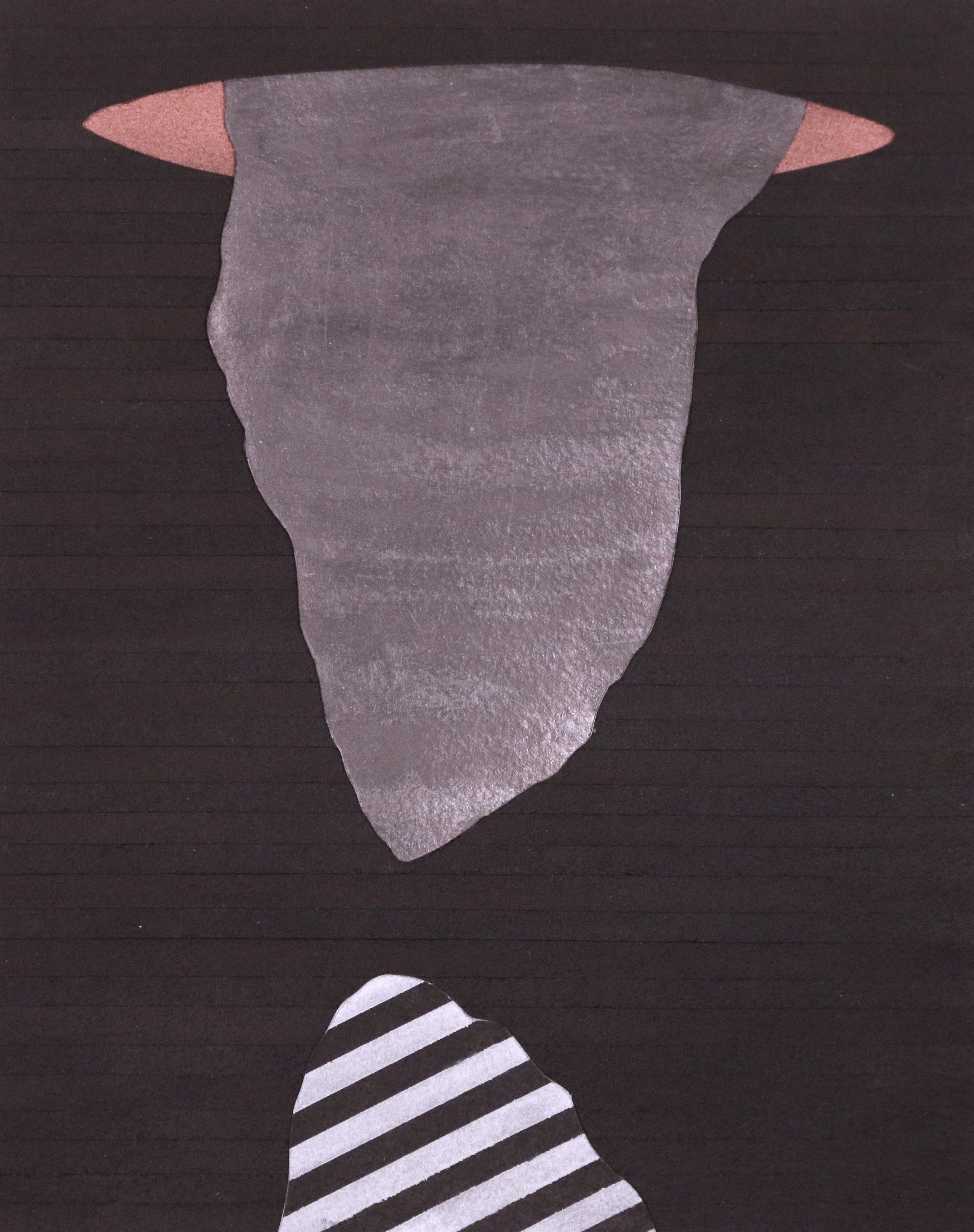 Untitled, 8''x11'', Graphite, Bronze, Gouache and Cut Paper Collage, 2014