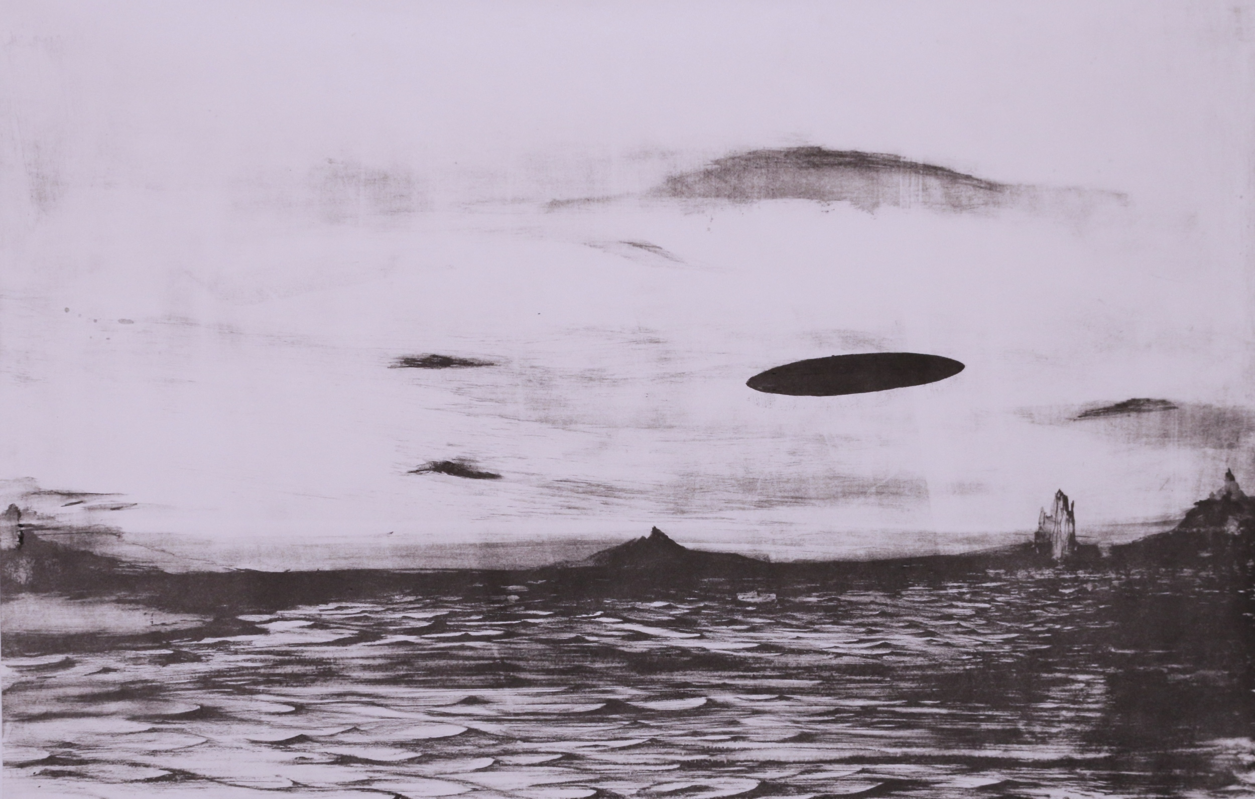 Untitled (Sky Portal), 36''x28'', Lithograph on Paper, 2014