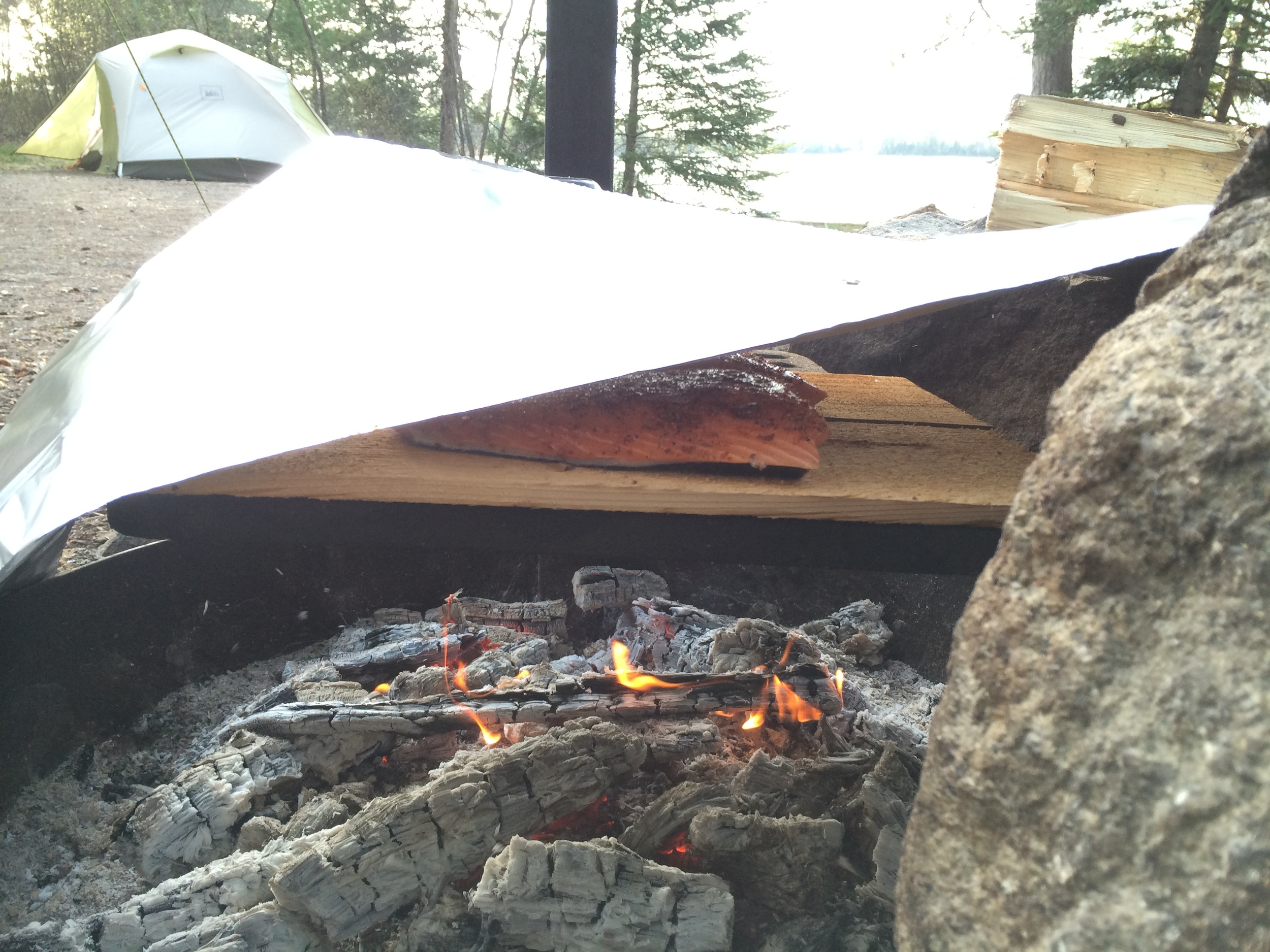 The aluminum foil kept in some of the heat to cook the salmon from all sides.