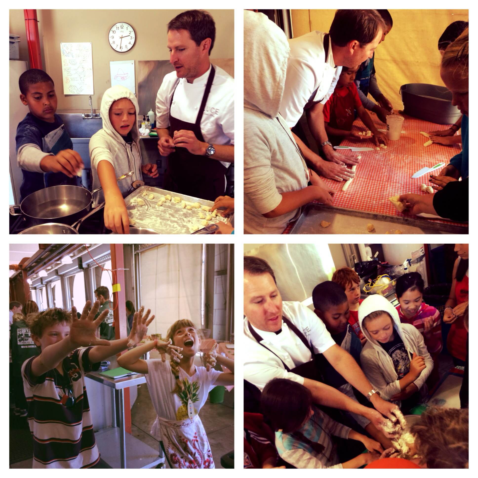 Chef Daniel got messy with the campers while making homemade gnocchi.