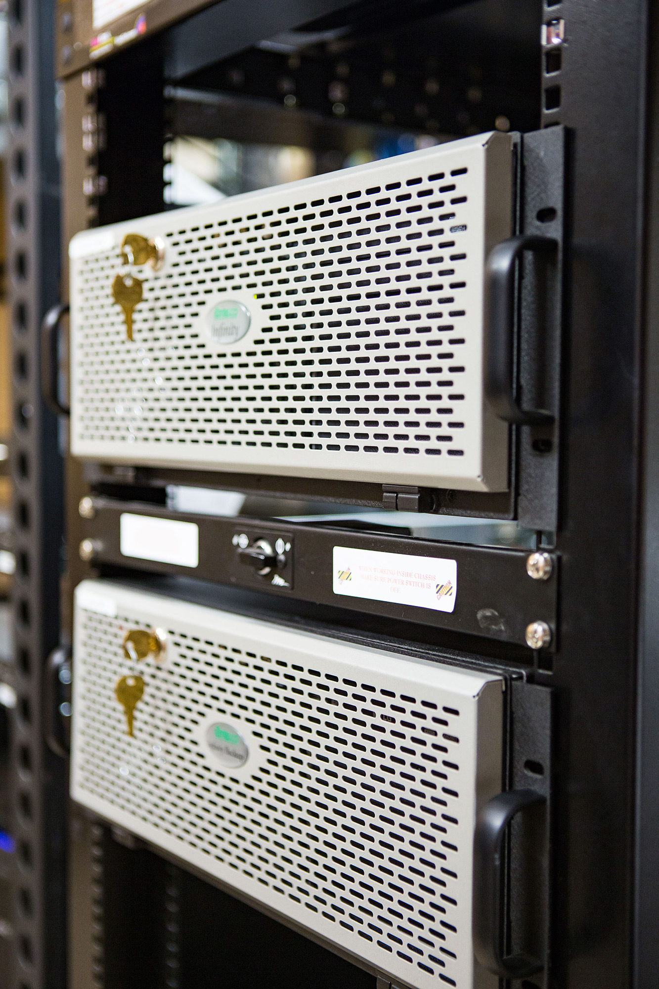 Two Amtelco 4u rack mount servers