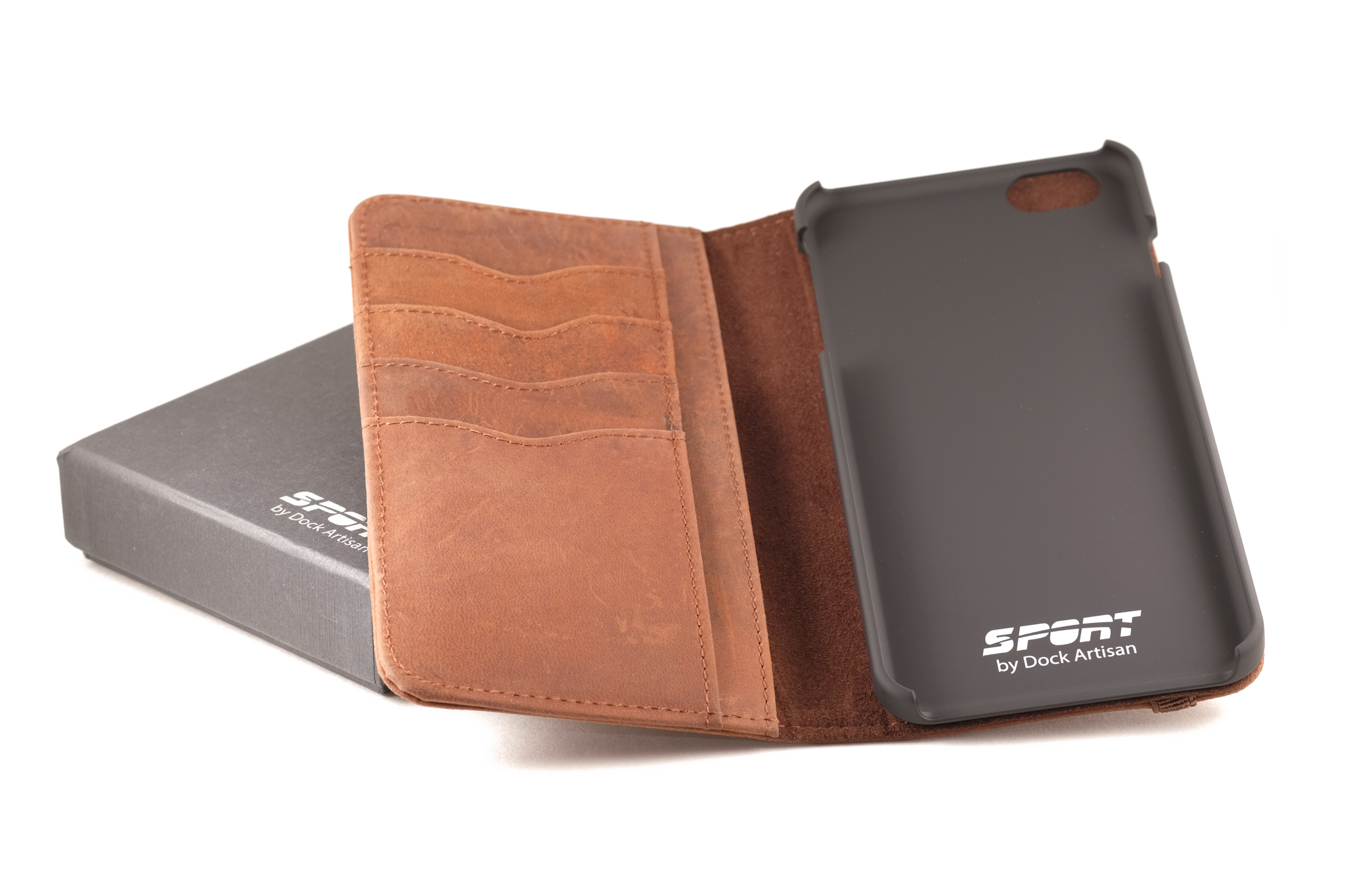 Case open, showing off the 4 credit card slots.