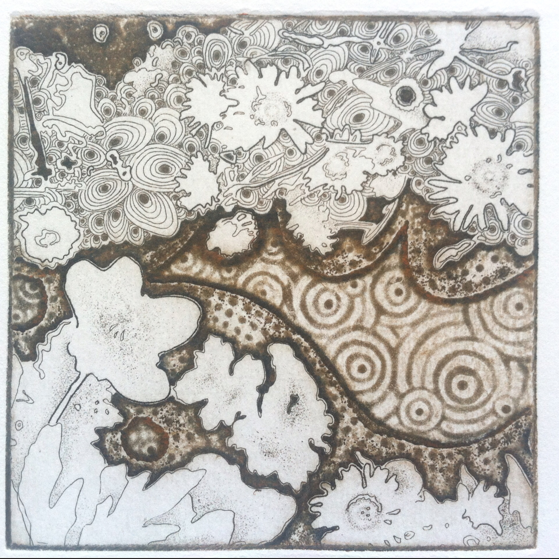 "Joshua Butler, Liminal Orange Threshold, 4""X4"", Intaglio"