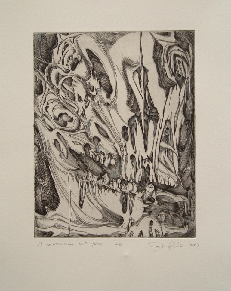 10 A Conversation with Horse 9X12 copper engraving copy 2.jpg