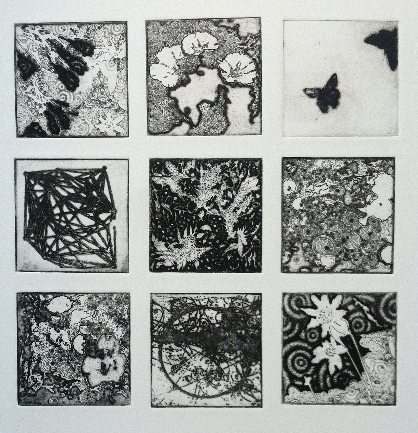 "Joshua Butler, Liminal: Nine, 12""X12"", Intaglio"