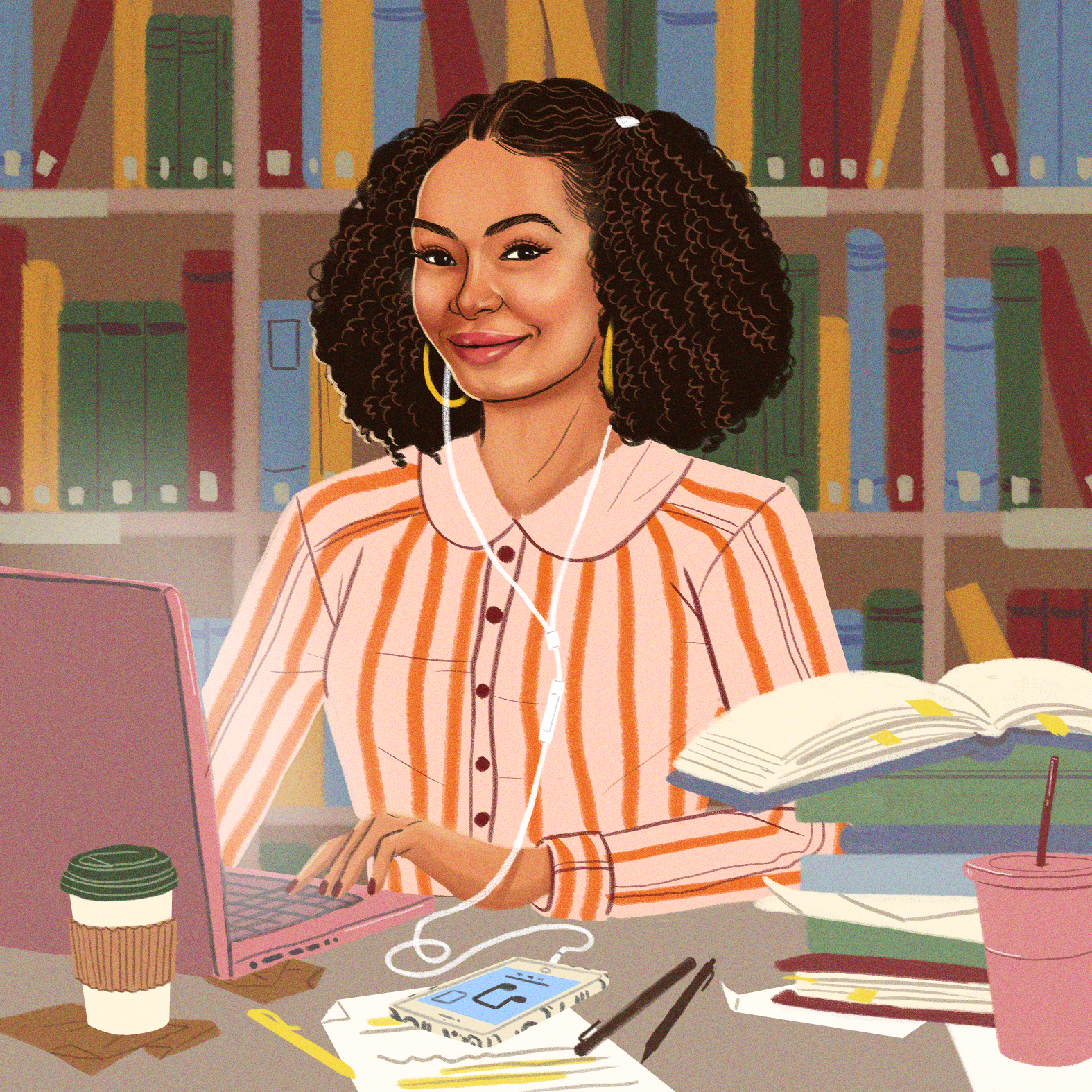 """Illustration of Yara Shahidi's Zoey from """"Grownish"""" for The Must List (January 11, 2019)"""