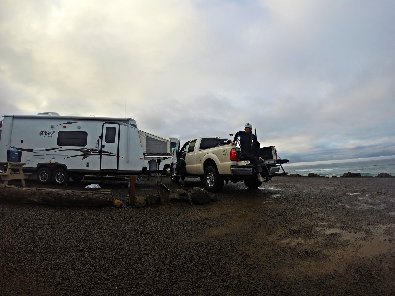 Our ocean-side campsite!