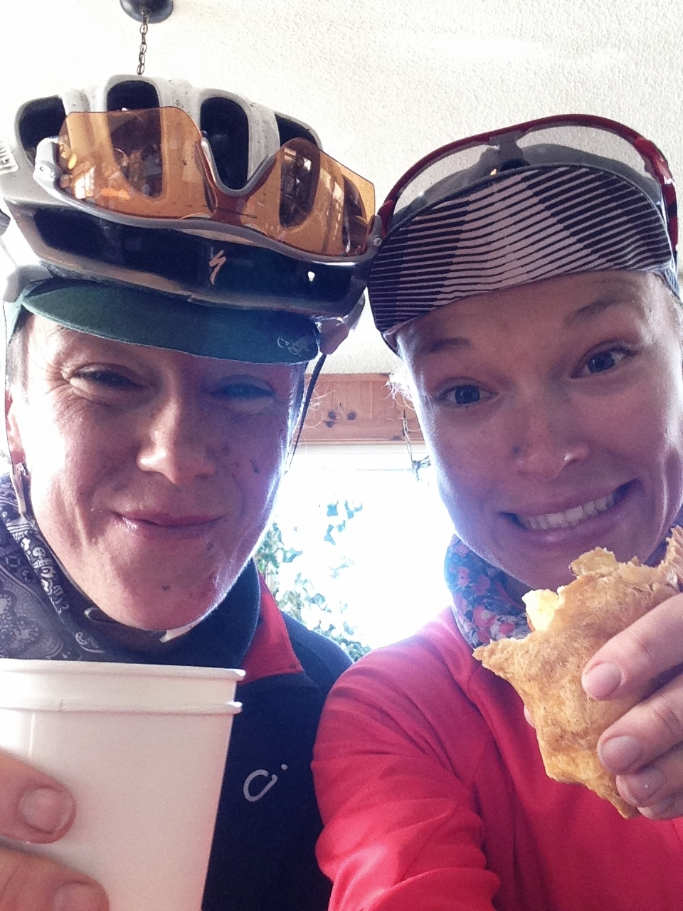 Dirty faces and the best breakfast burrito ever at the Green Salmon Cafe in Yachats!