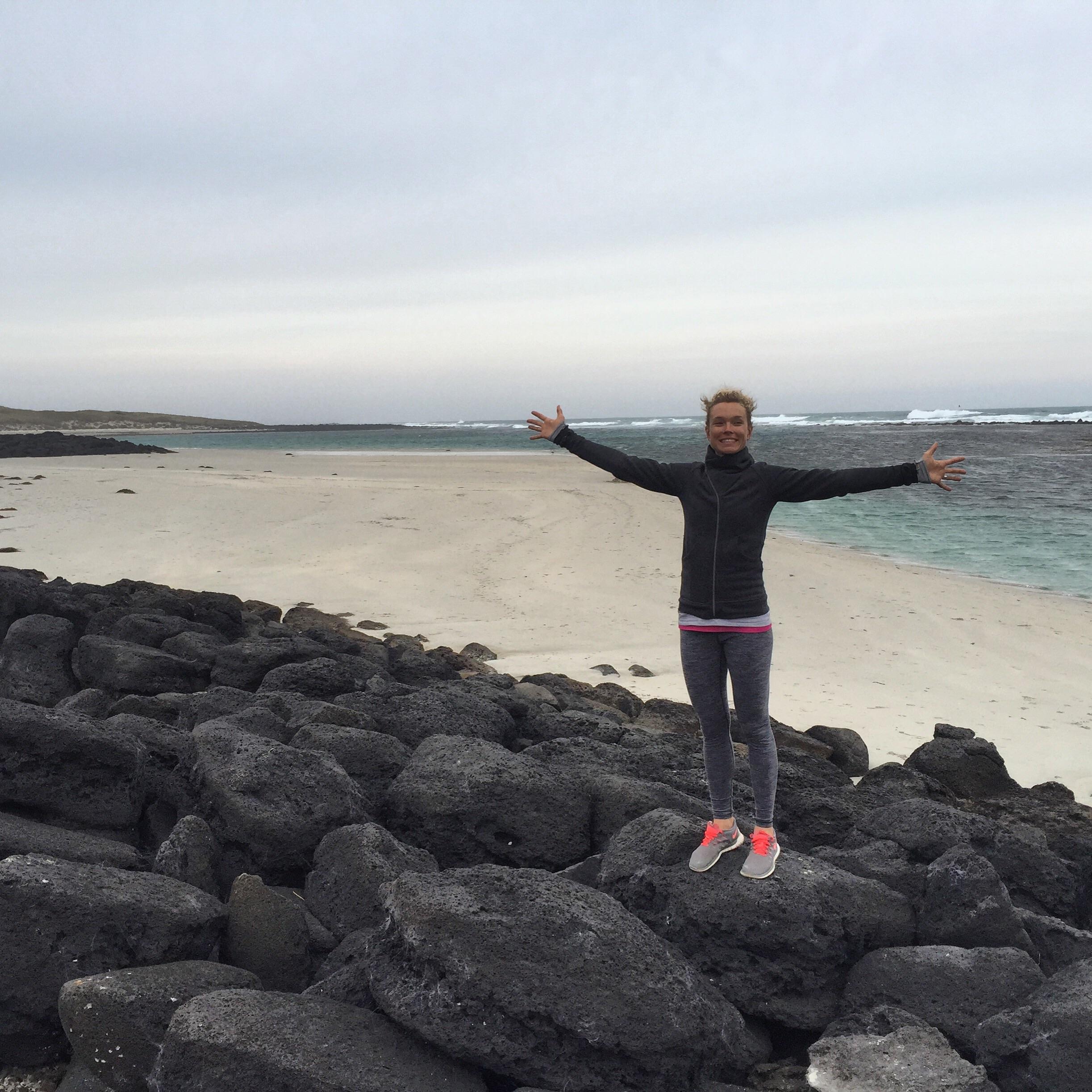 Rock scrambling on the beach!