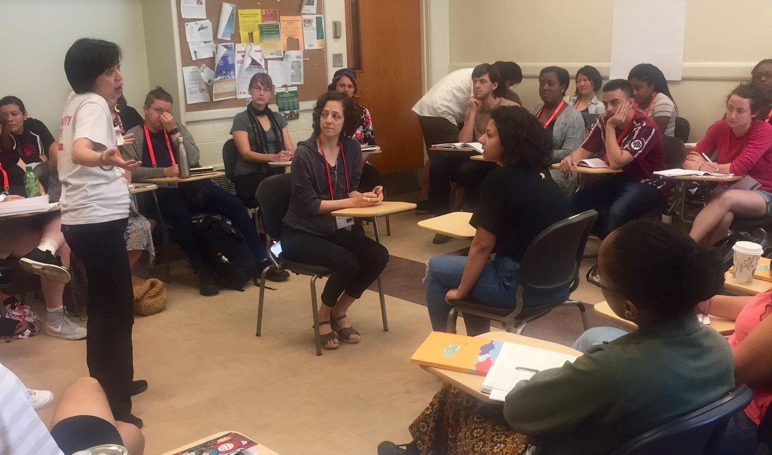 """Emily Lawsin facilitates an oral history role-playing exercise at Groundswell's """"Anti-Oppression Frameworks for Oral History"""" AMC workshop."""