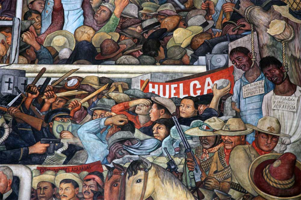 Detail of the History of Mexico mural painted by  Diego Rivera  at the  Palacio Nacional  in Mexico City. This close up details Mexico's history of conflict, rebellions, revolution against oppression.