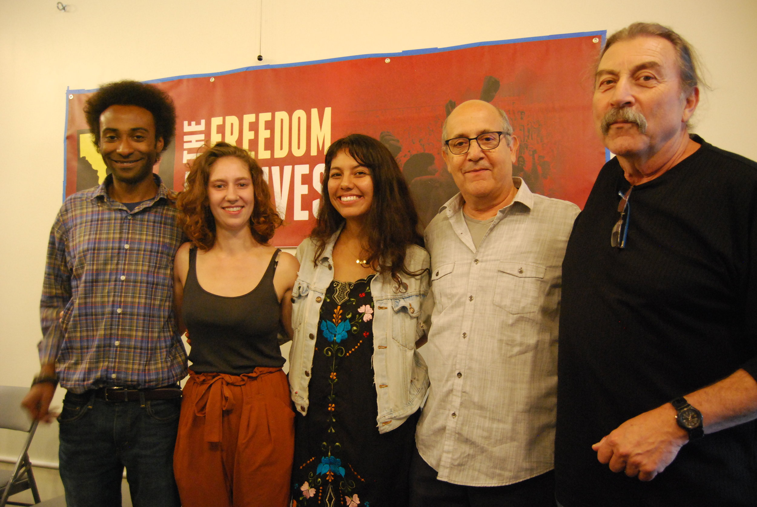 Symbols of Resistance Filmmakers: (from left to right: Nathaniel Moore, Vera Tykulsker, Brenda Montano, Andres Alegria, Claude Marks)