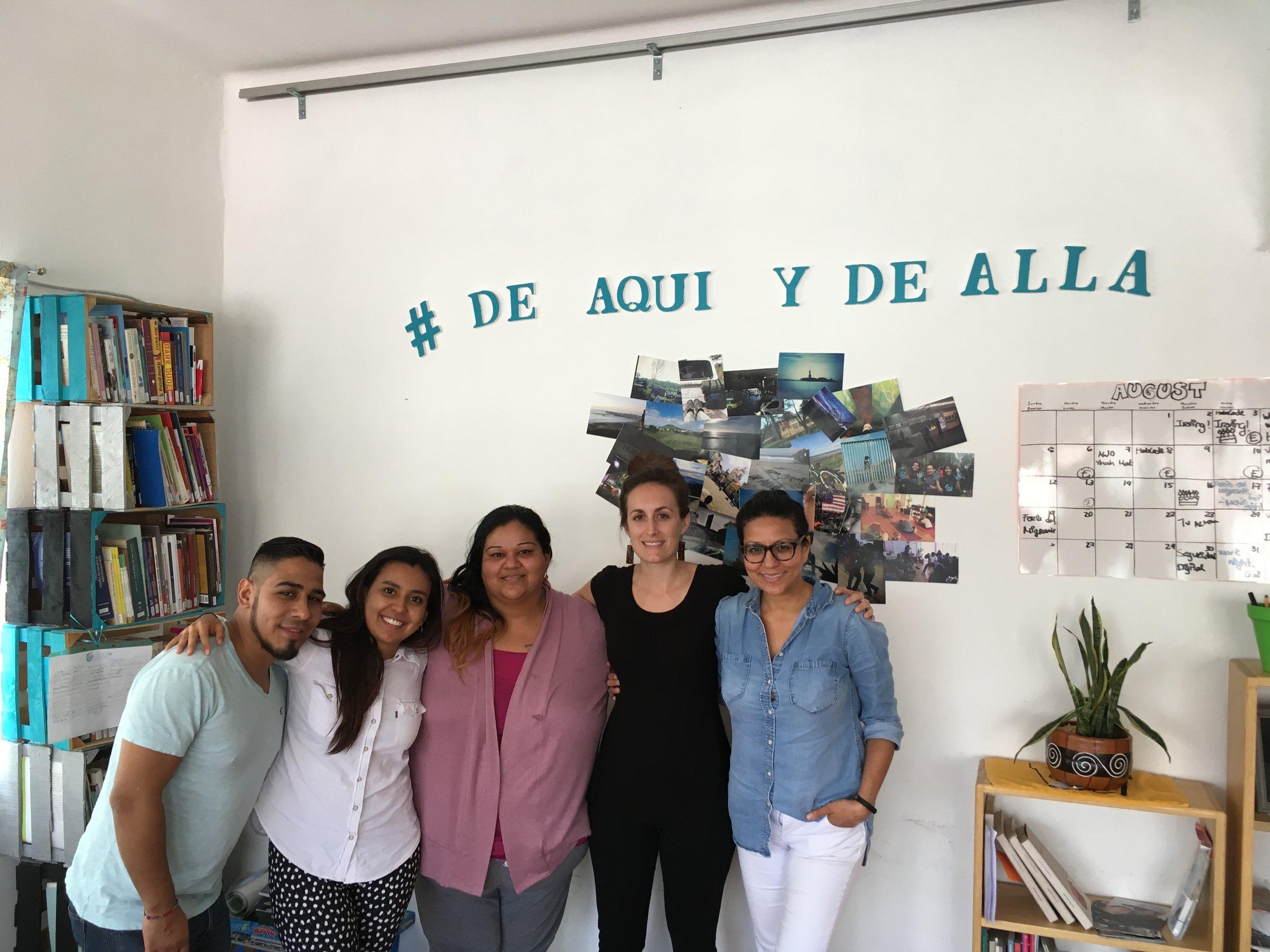 Groundswell's Communications Coordinator Fanny García and Bronx Housing Organizer Addie Alexander meet members of Otros Dreams en Acción in México City in September, 2018.