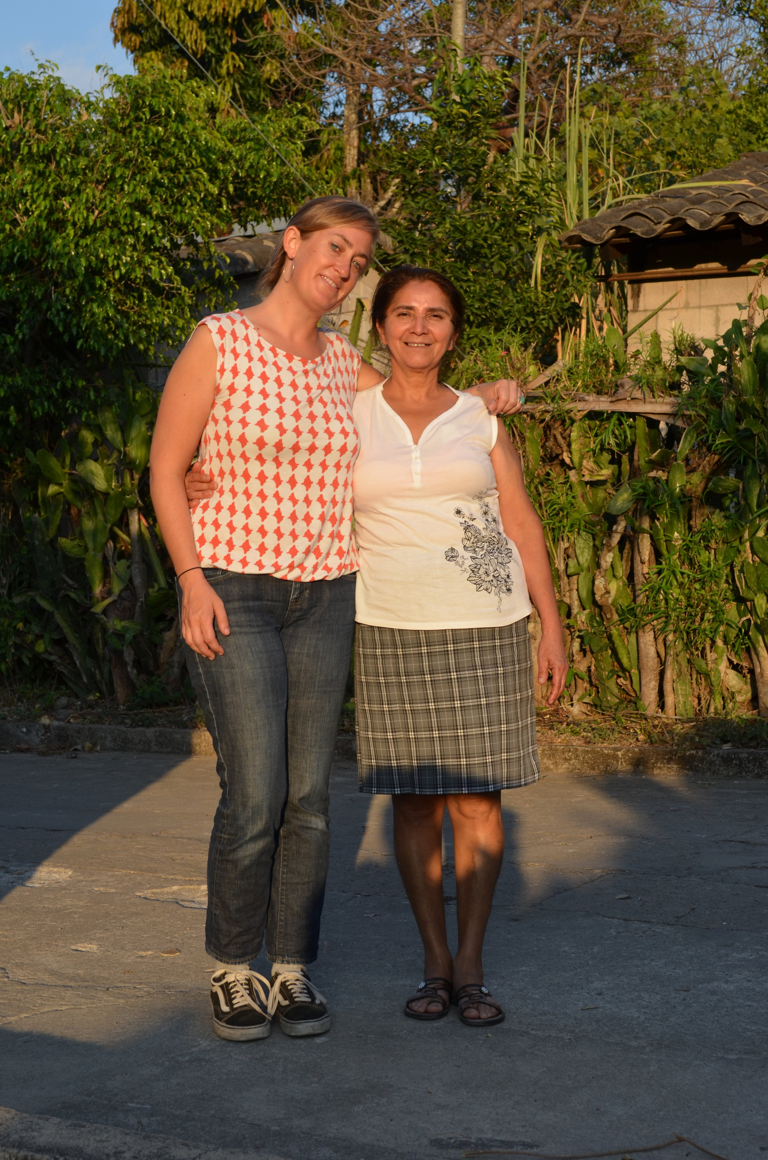Maggie and Rosa after the interview with the Historical Memory Committee in Arcatao. Photo by Dalton Anthony.