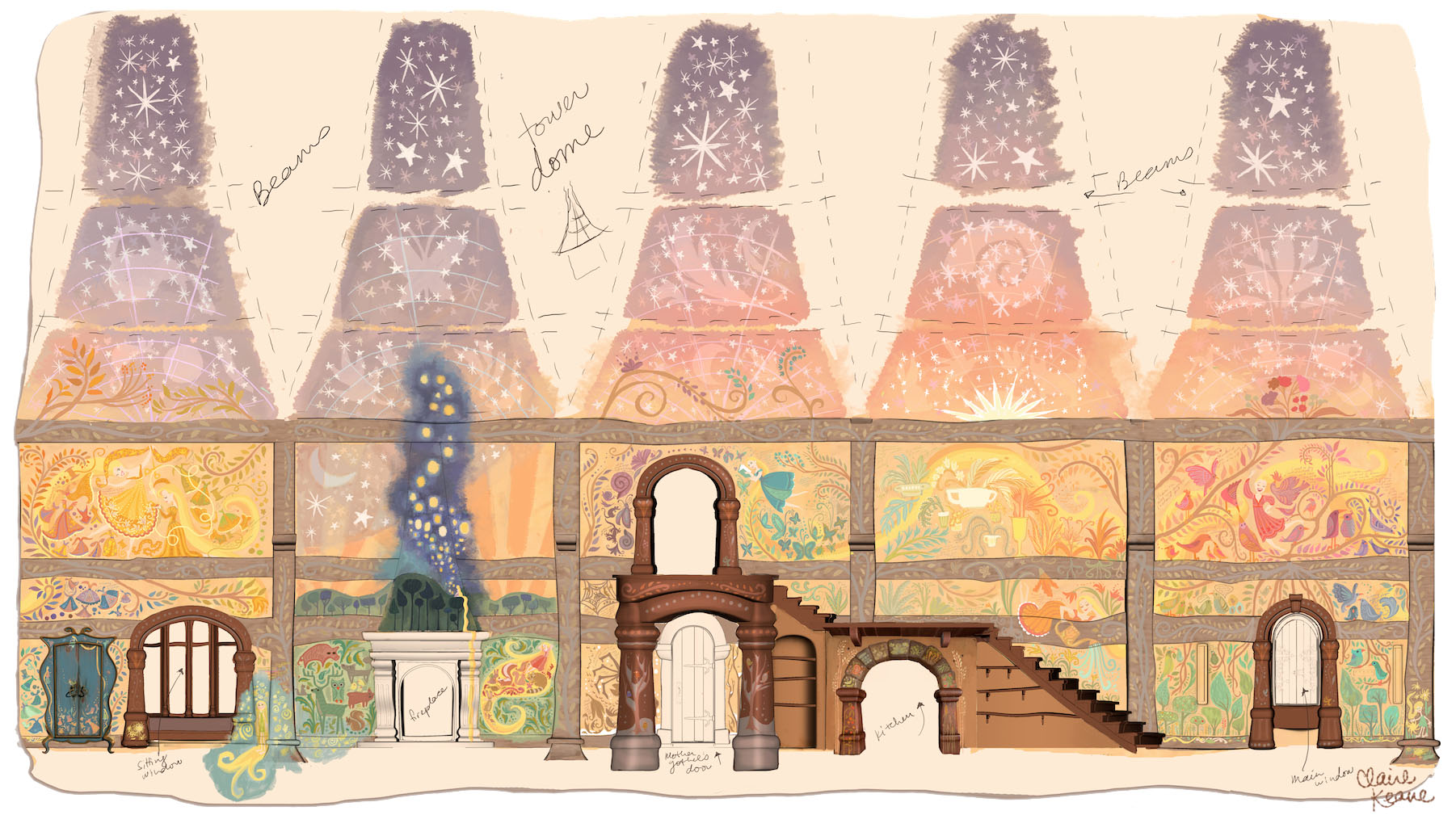 RAPUNZEL'S MURALS // PRODUCTION DESIGN ELEMENT FOR TANGLED