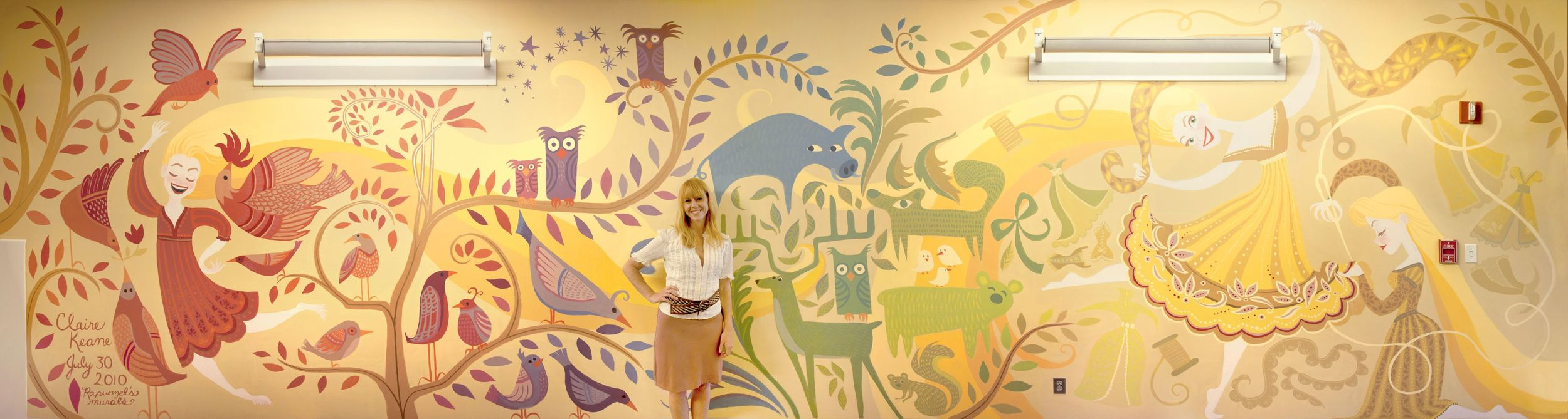 HAND PAINTED RAPUNZEL MURAL AT WALT DISNEY FEATURE ANIMATION STUDIO