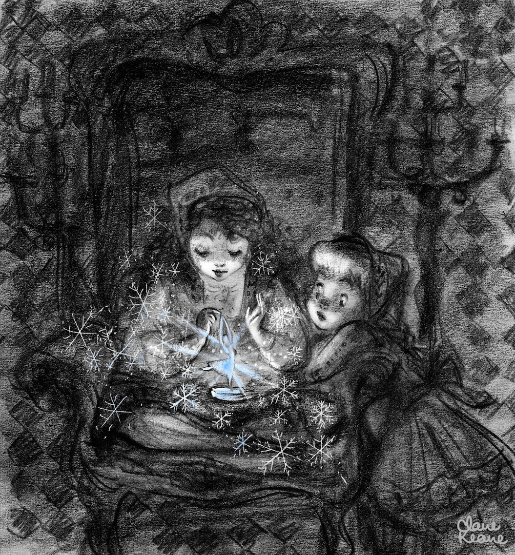 LITTLE ANNA INTRIGUED BY ELSA'S POWERS  VISUAL DEVELOPMENT FOR FROZEN