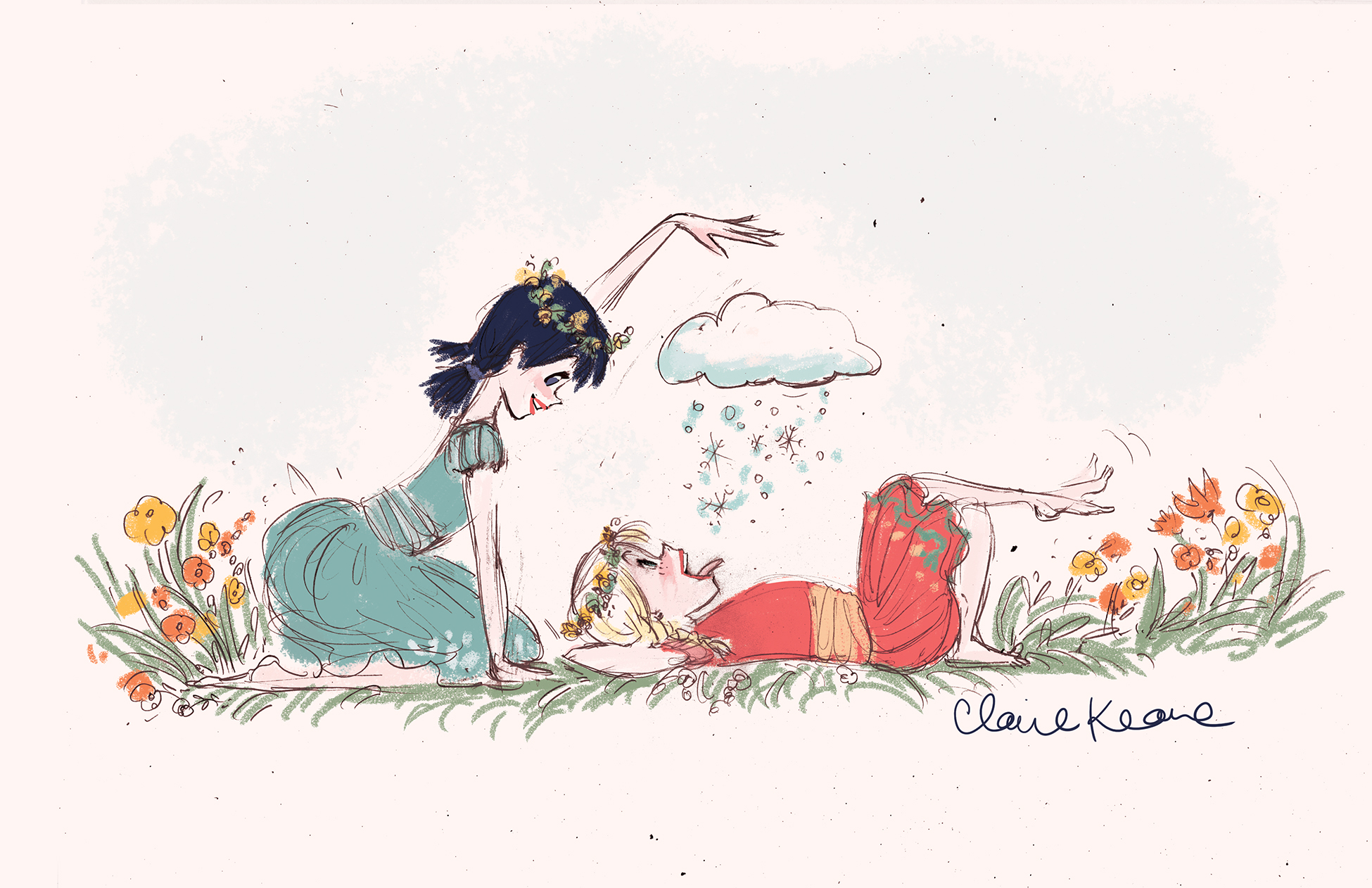 ANNA AND ELSA IN THE SPRING //VISUAL DEVELOPMENT FOR FROZEN