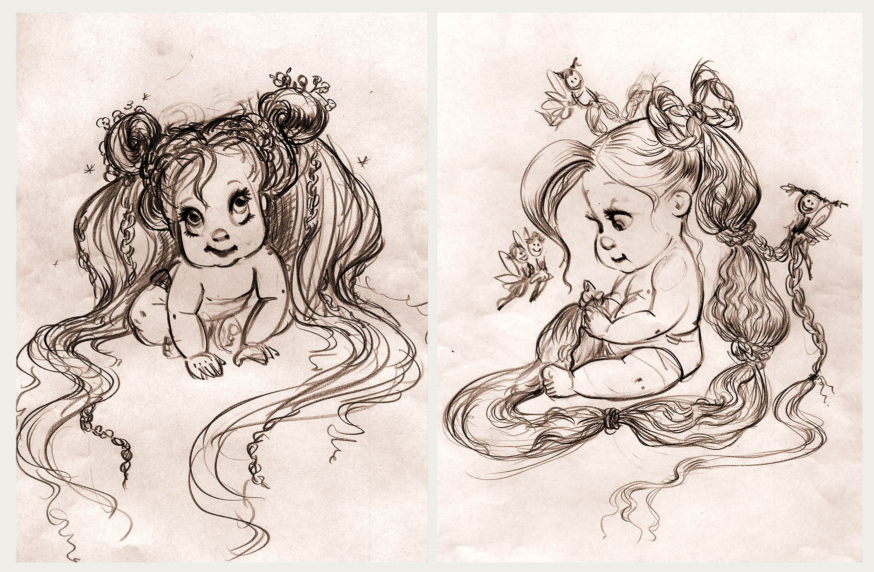 BABY RAPUNZEL HAIR DESIGNS // VISUAL DEVELOPMENT FOR TANGLED