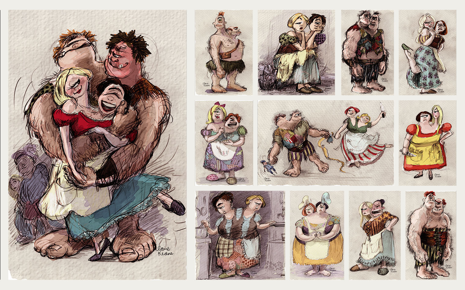 TWO HEADED OGRE CYCLOPS COUPLE //VISUAL DEVELOPMENT FOR TANGLED / RAPUNZEL UNBRAIDED