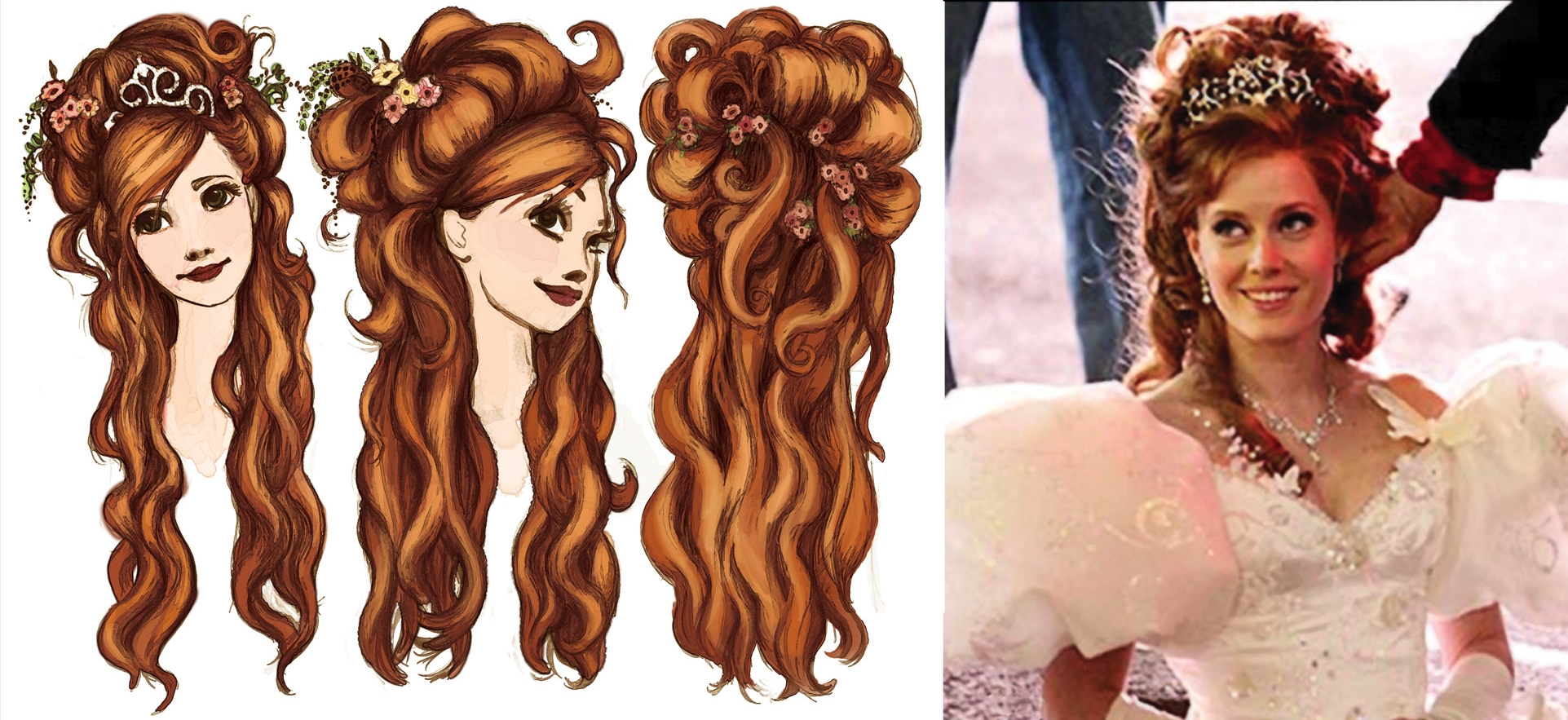 GISELLE HAIR DESIGNS / AMY ADAMS //VISUAL DEVELOPMENT FOR ENCHANTED