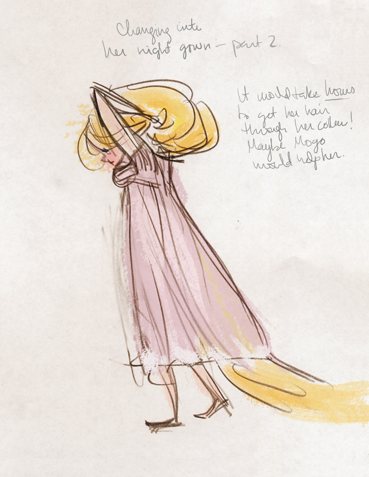 RAPUNZEL PUTTING ON A NIGHTGOWN  FROM MY SKETCHBOOK WHERE I TRANSLATED MY EVERYDAY LIFE INTO RAPUNZEL'S
