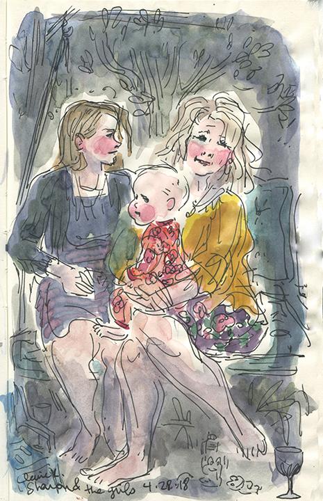 Angela, baby Faye and Sharon