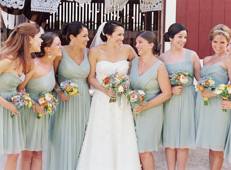 Virginia Fine Art Film Wedding Photographer | Westwood Inn Wedding | Soft Teal Bridal Party