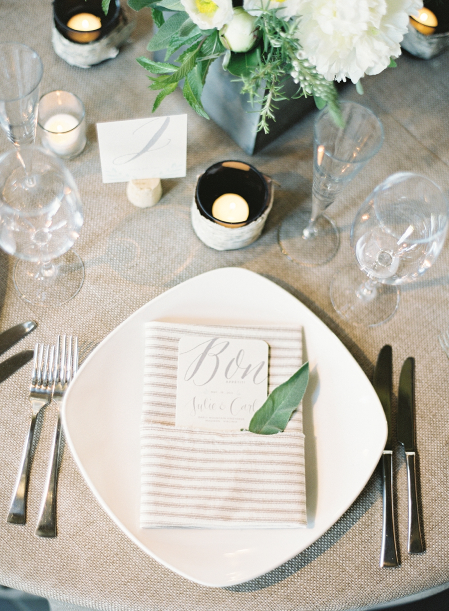 Virginia Fine Art Film Wedding Photographer  | Early Mountain Vineyard Wedding |  Early Mountain Reception Place Setting