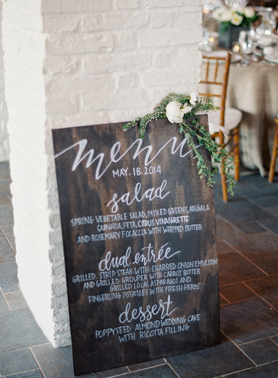 Virginia Fine Art Film Wedding Photographer  | Early Mountain Vineyard Wedding |  Early Mountain Reception Wood Menu