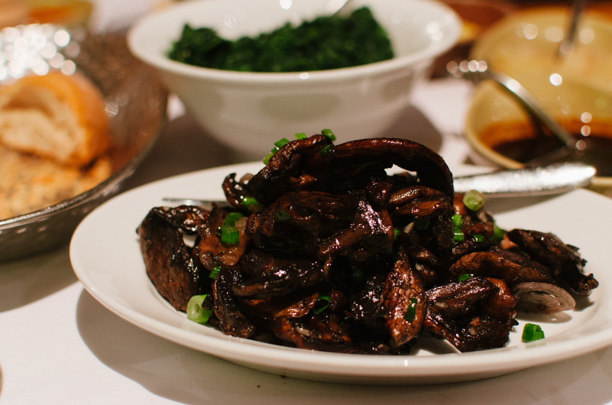 Sautéed YoungSpinach and Wood-roasted Field Mushrooms