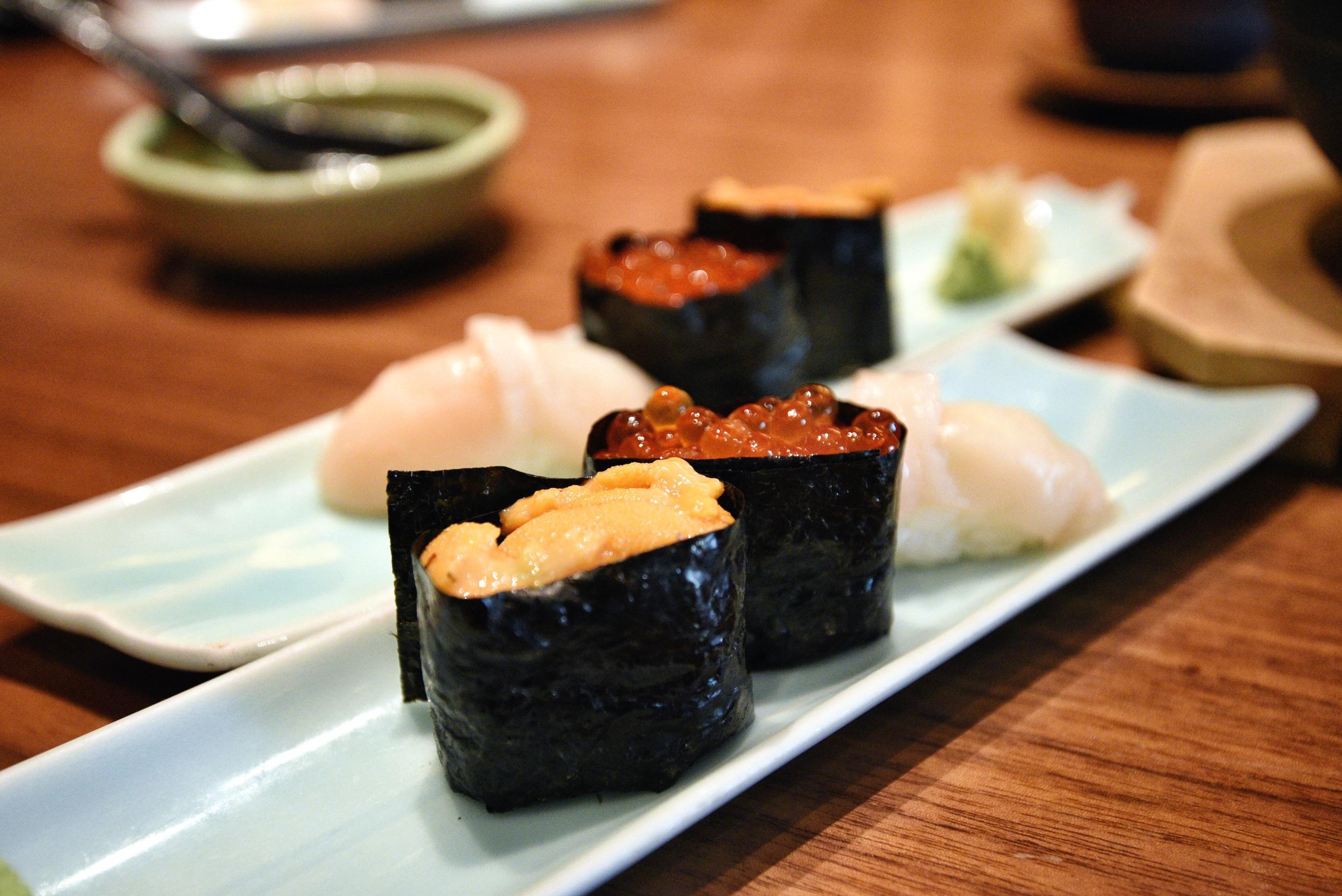 Sushi - Uni (Sea Urchin) Ikura (Salmon Roe), Hotate (Scallop)
