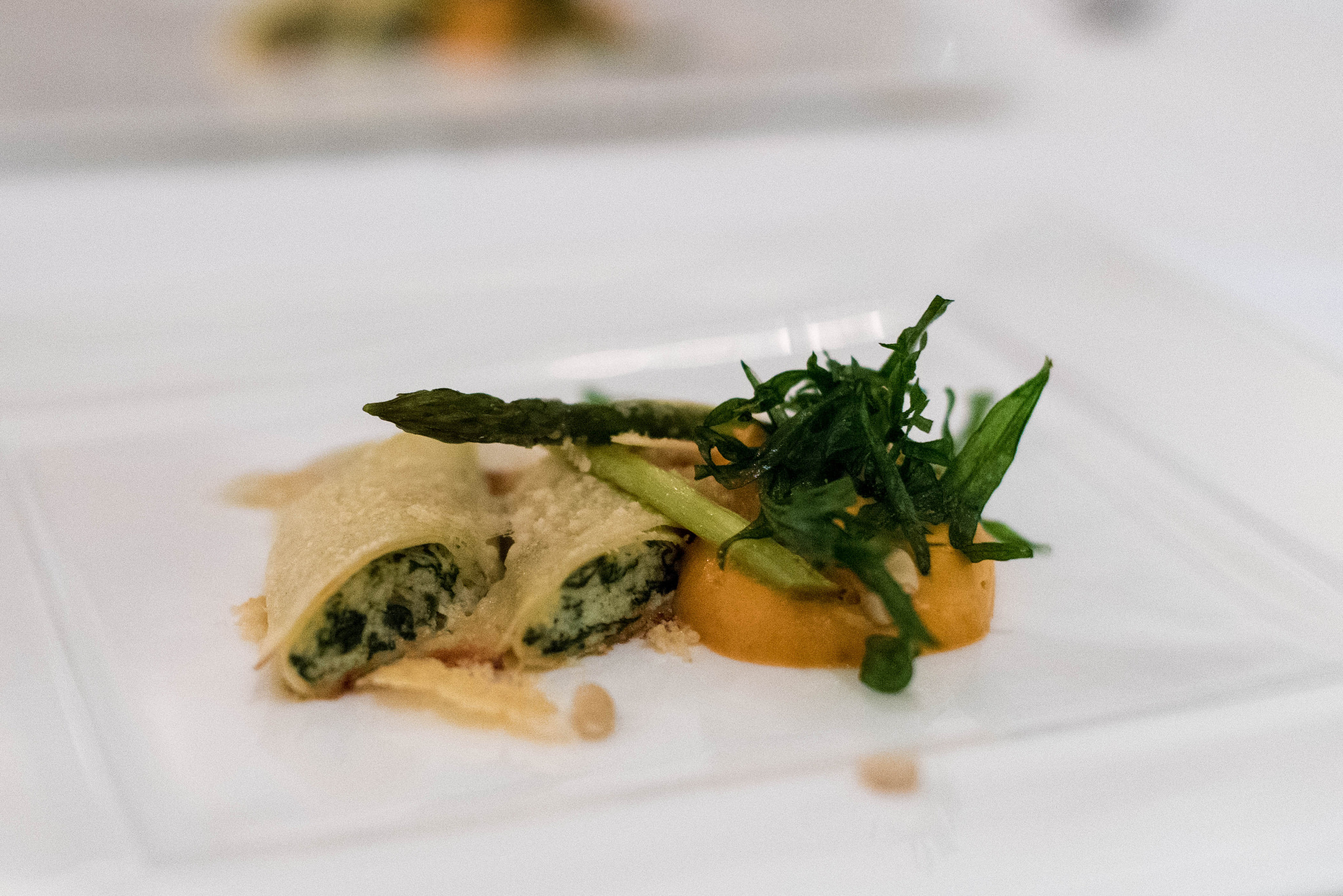 Cannelloni Ricotta and Spinach (S$36++) - p  hotograph shows a tasting portion only.