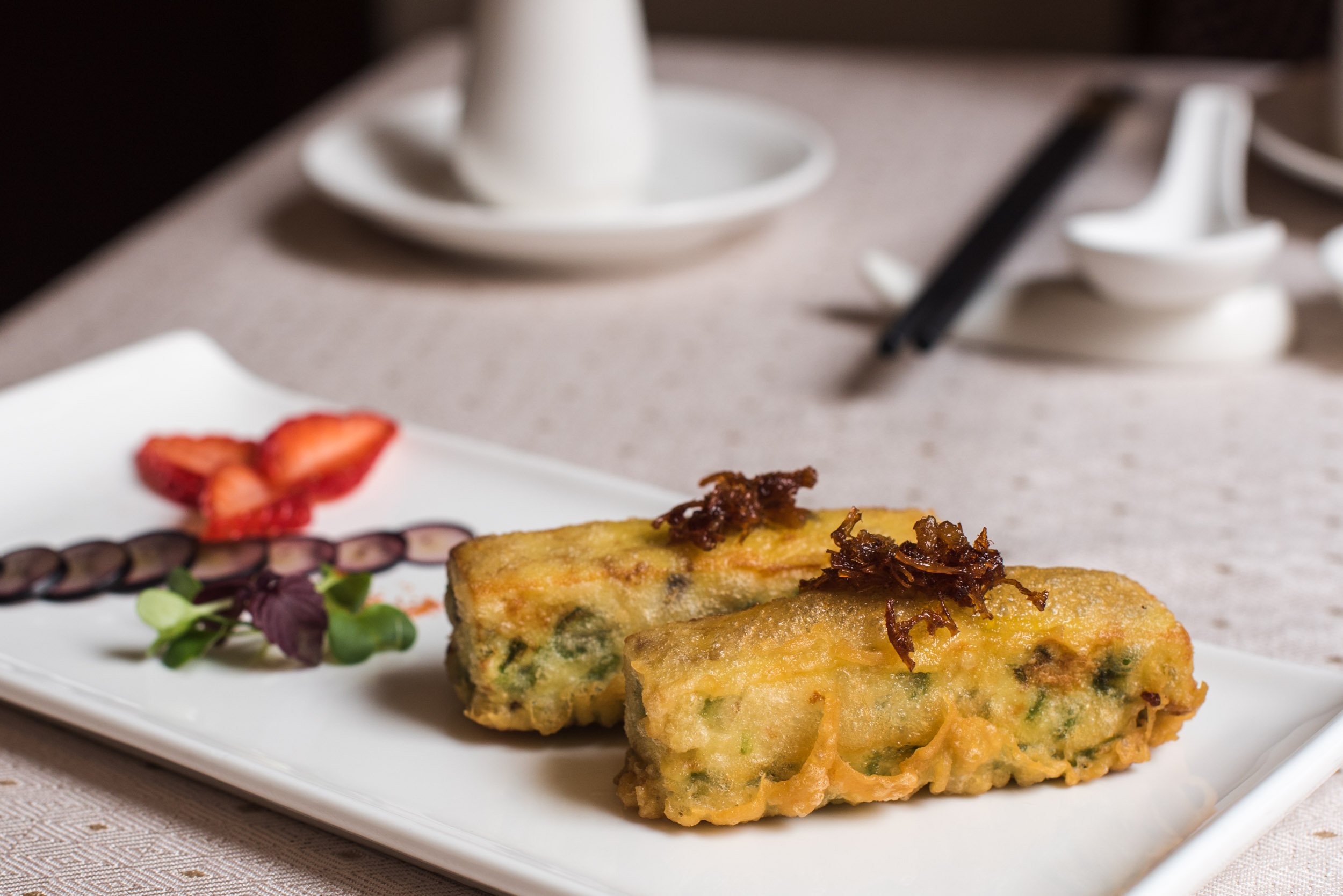 Deep-fried Beancurd Roll stuffed with Long Bean in Spicy XO Sauce - tasting portion