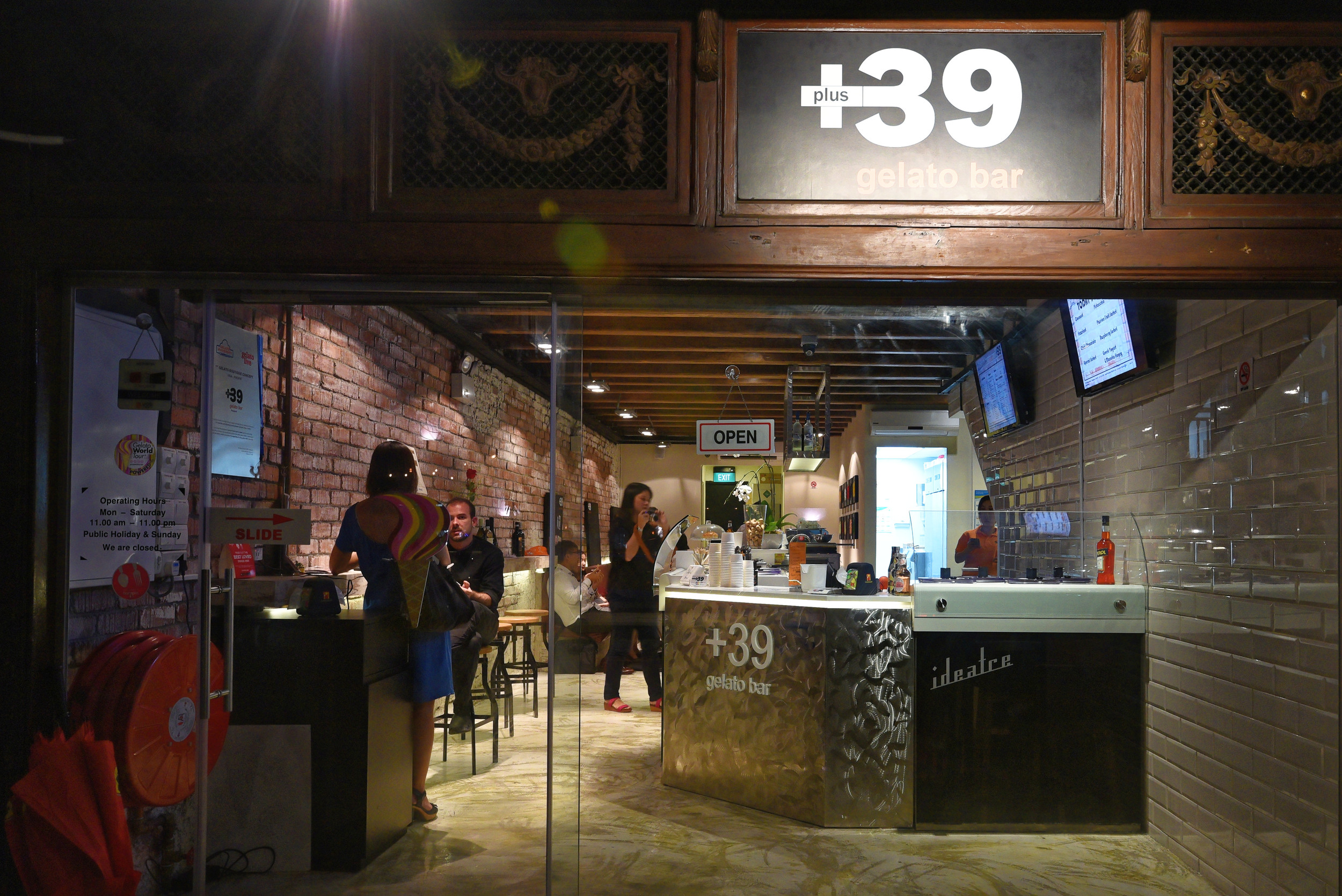 The Entrance of +39 Gelato Bar