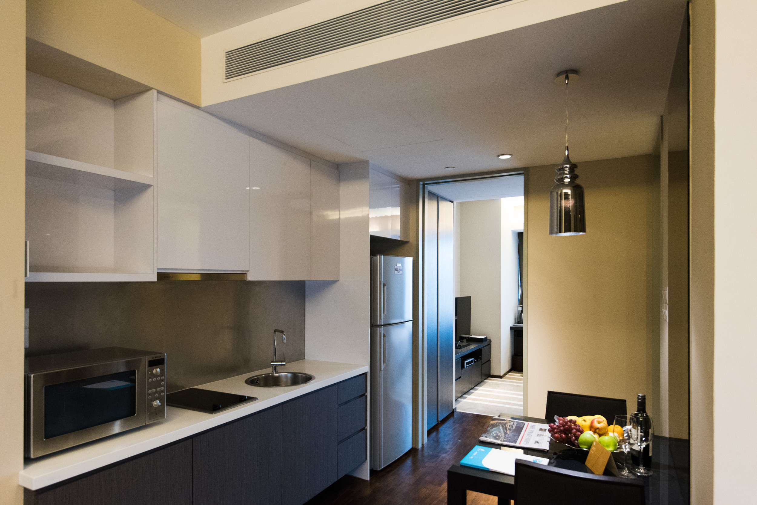 Kitchen and Dining Area of the One Bedroom Deluxe Suite
