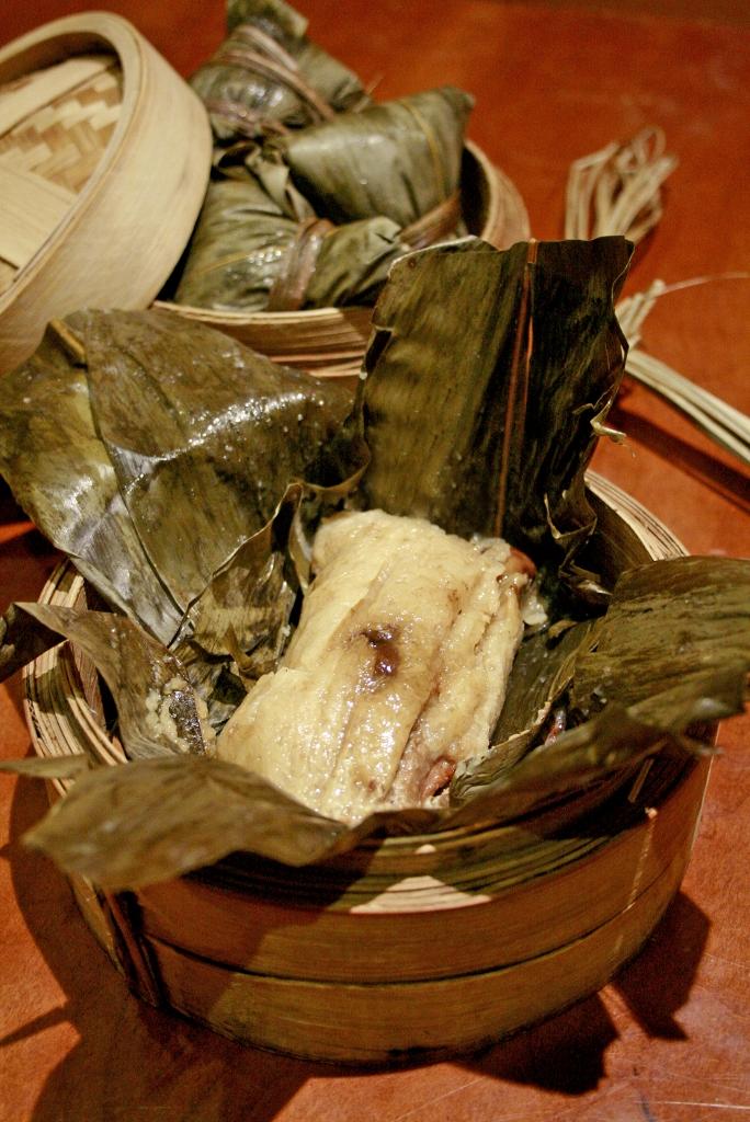 Rice Dumpling stuffed with Stewed Pork Soft Bone and Black Garlic Paste 黑蒜酱猪软骨炒米粽 ($13.80)