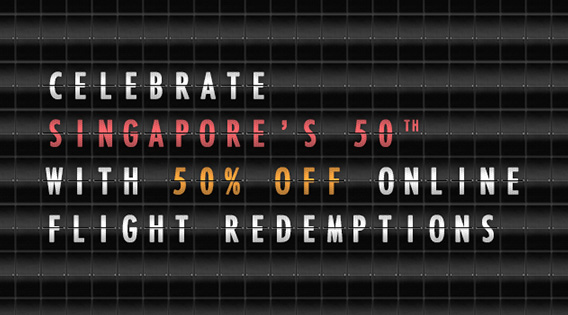 50% off KrisFlyer Miles Redemption on Singapore Airlines