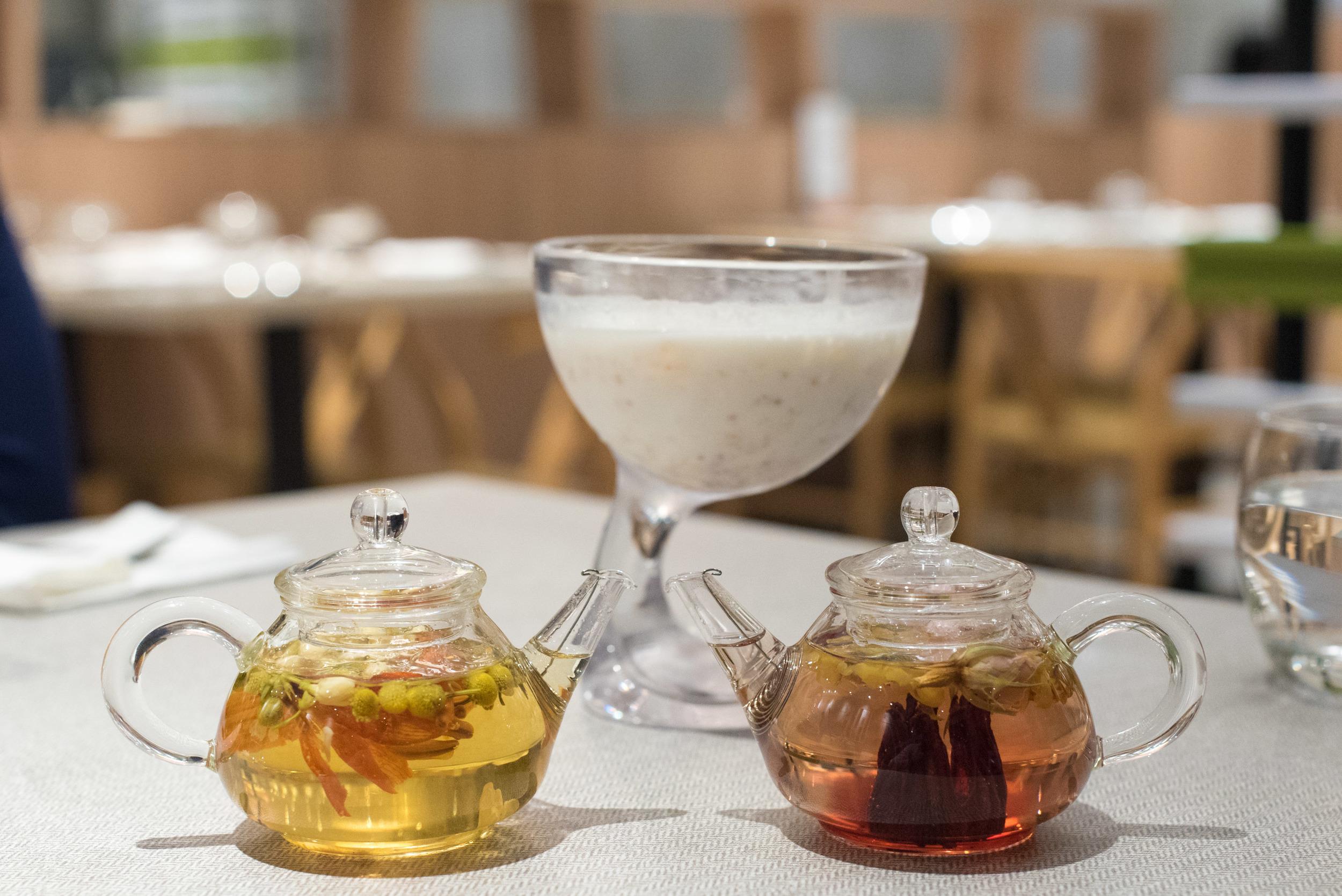 LEFT: Chamomile Tea (Hot) | Right: Roselle Tea (Hot)  Elemen 元素