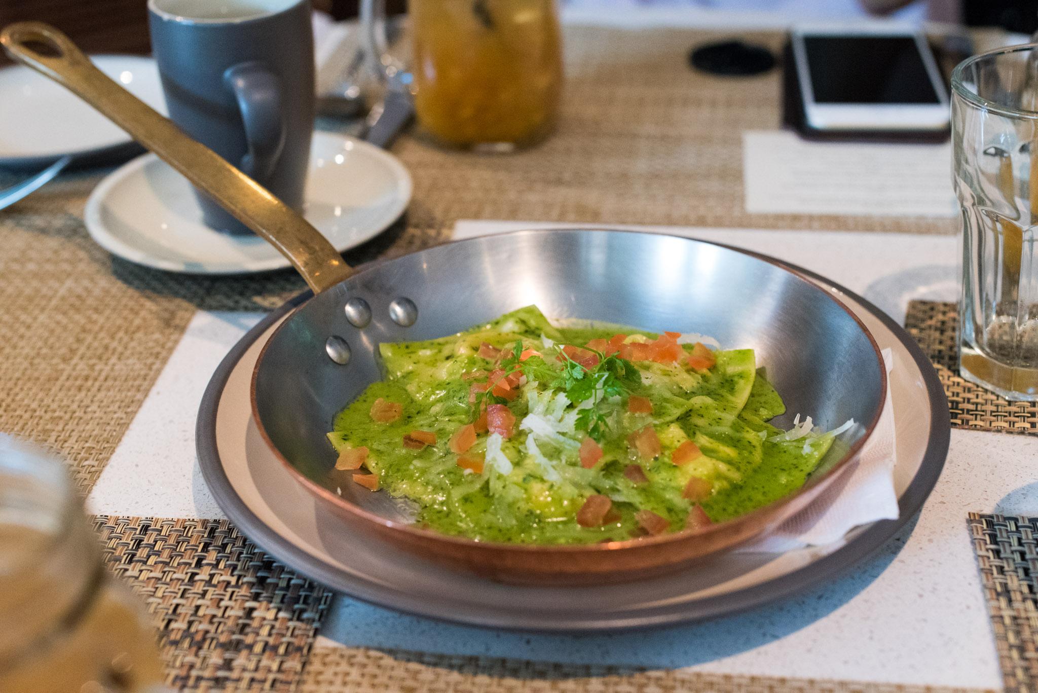 Homemade Ravioli, Sun-dried Tomatoes, Bufala Ricotta in Basil Sauce  The Waterfall - Shangri-La Singapore