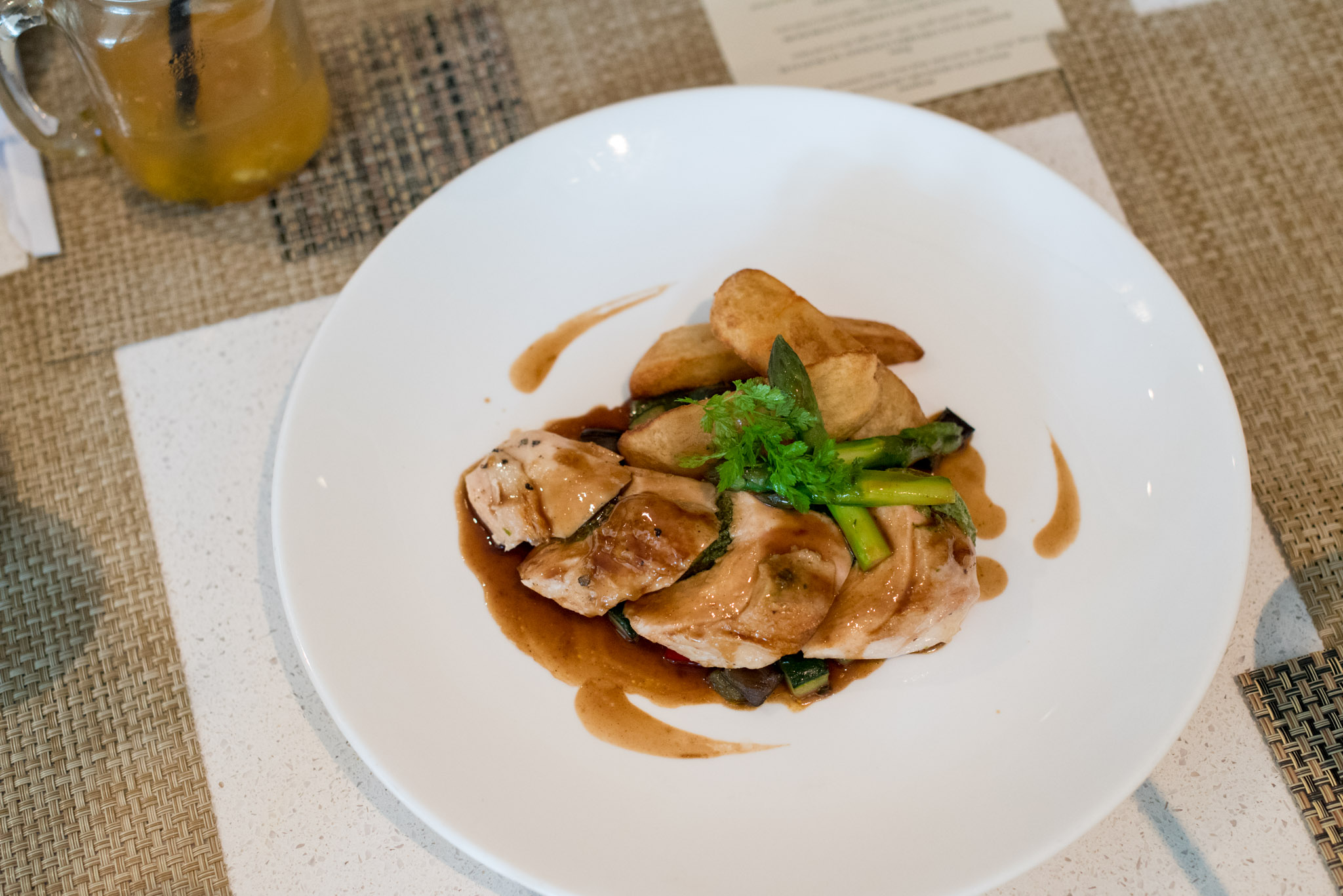 Spinach Stuffed Roasted Chicken Breast, Vegetables Caponata, Rocket Pesto Sauce  The Waterfall - Shangri-La Singapore