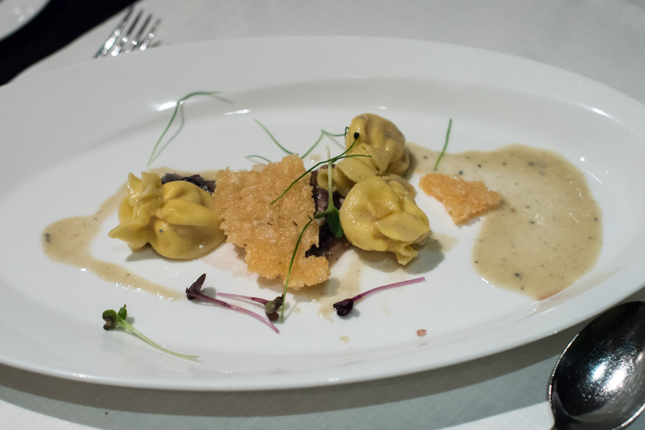 Fagottini Pasta stuffed with Pear and Tuscan Pecorino Cheese in Sweet Gorgonzola Sauce (S$34++)  Basilico - Regent Singapore